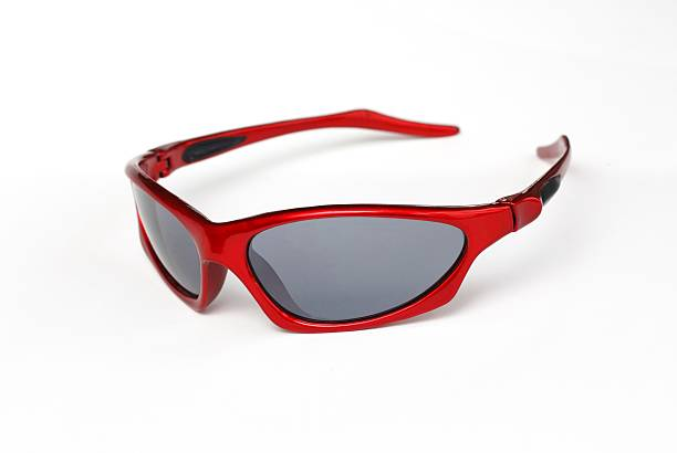 Red sporty sunglasses stock photo
