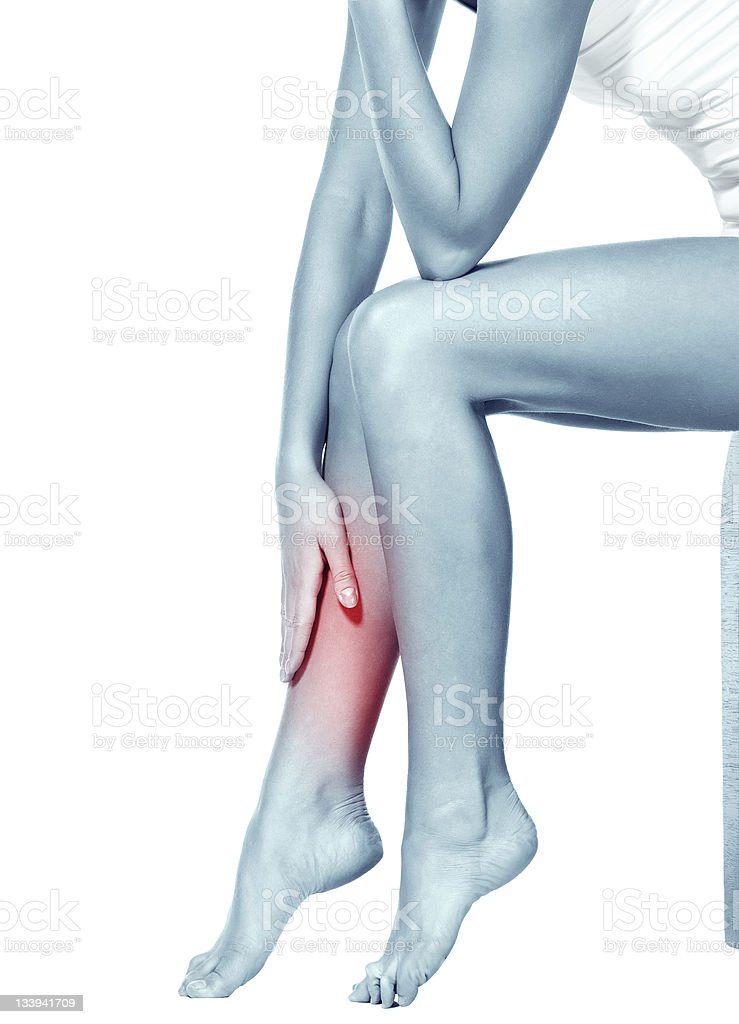 Red spot pinpointing pain in woman's leg stock photo