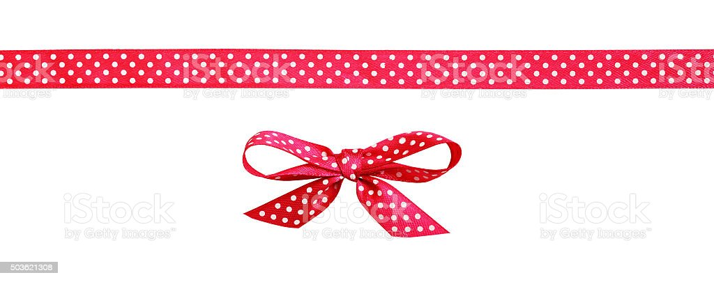 Red spotted bow and ribbon stock photo