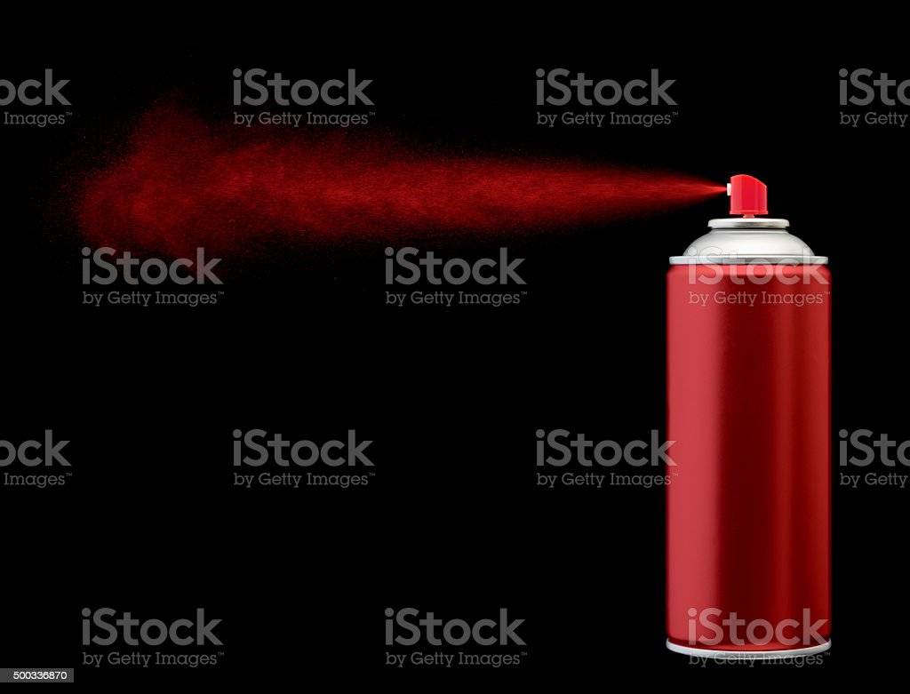 red spray paint stock photo