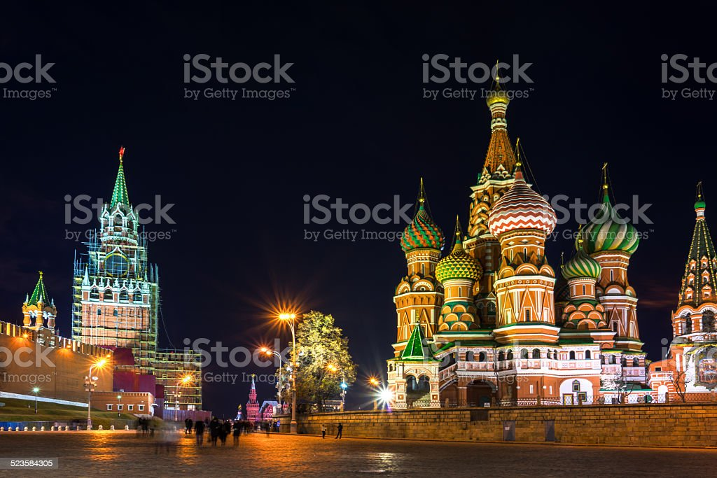 Red Square at the evening, Moscow, Russia stock photo