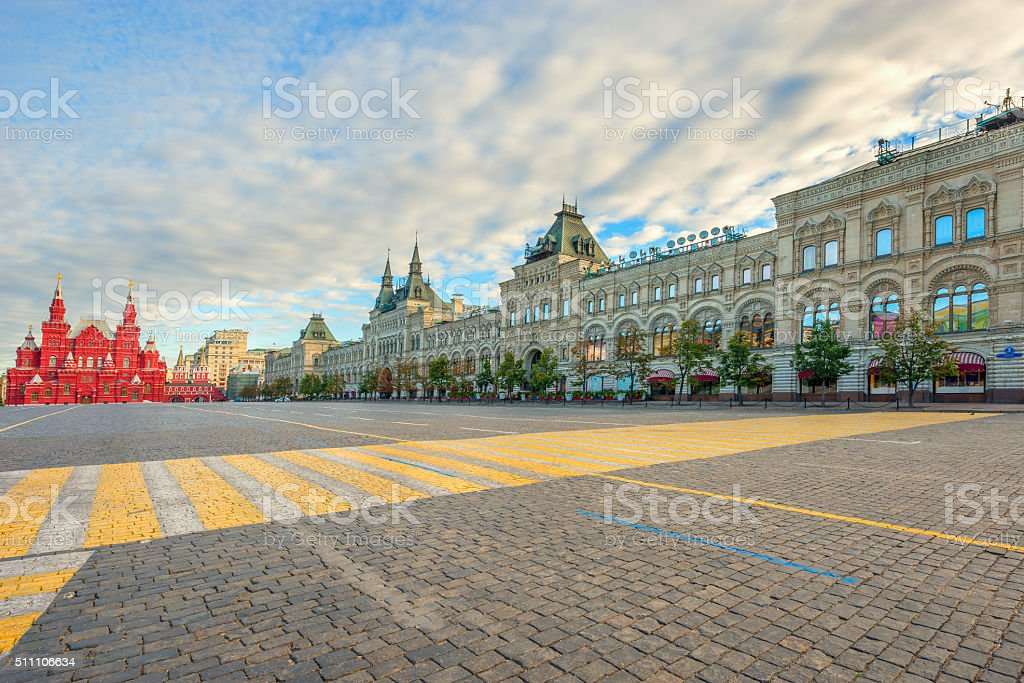Red square early morning view. stock photo