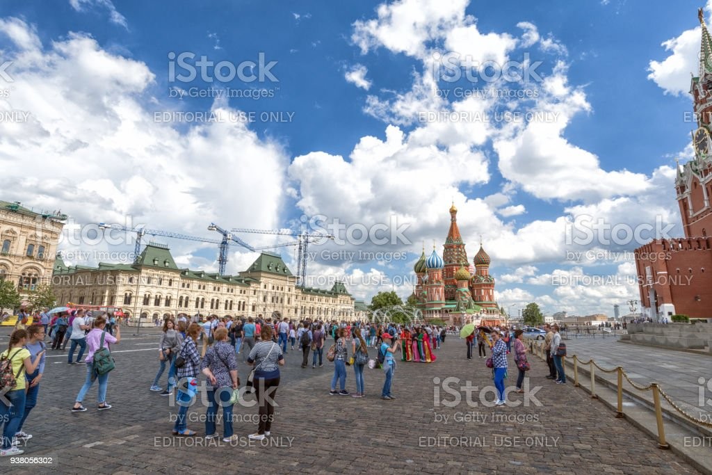 Red square in Moscow with tourists stock photo
