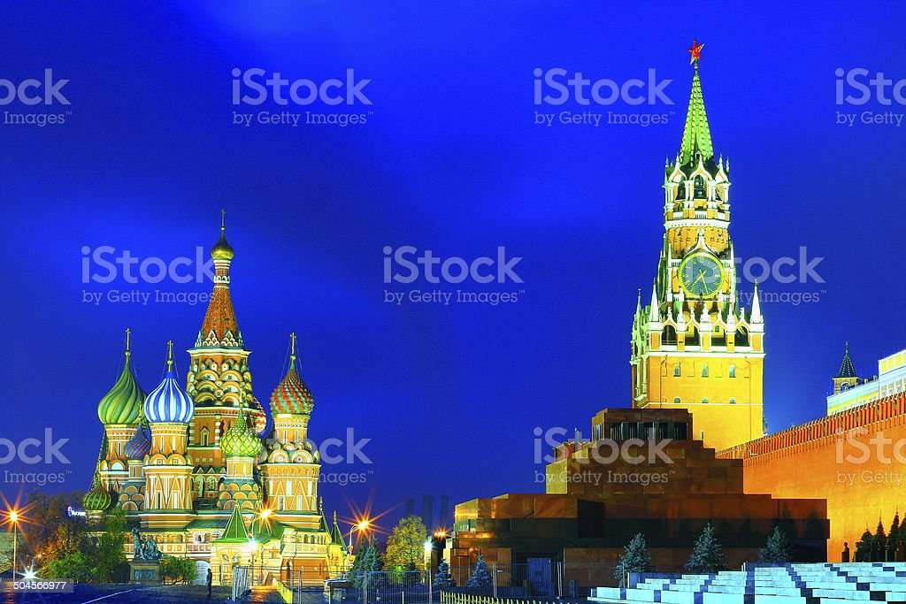 Red Square, Lenin mausoleum and Moscow Kremlin at night stock photo