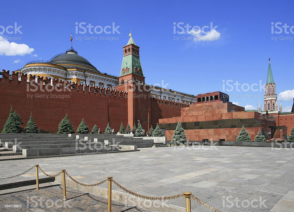 Red Square Lenin mausoleum and Moscow Kremlin stock photo