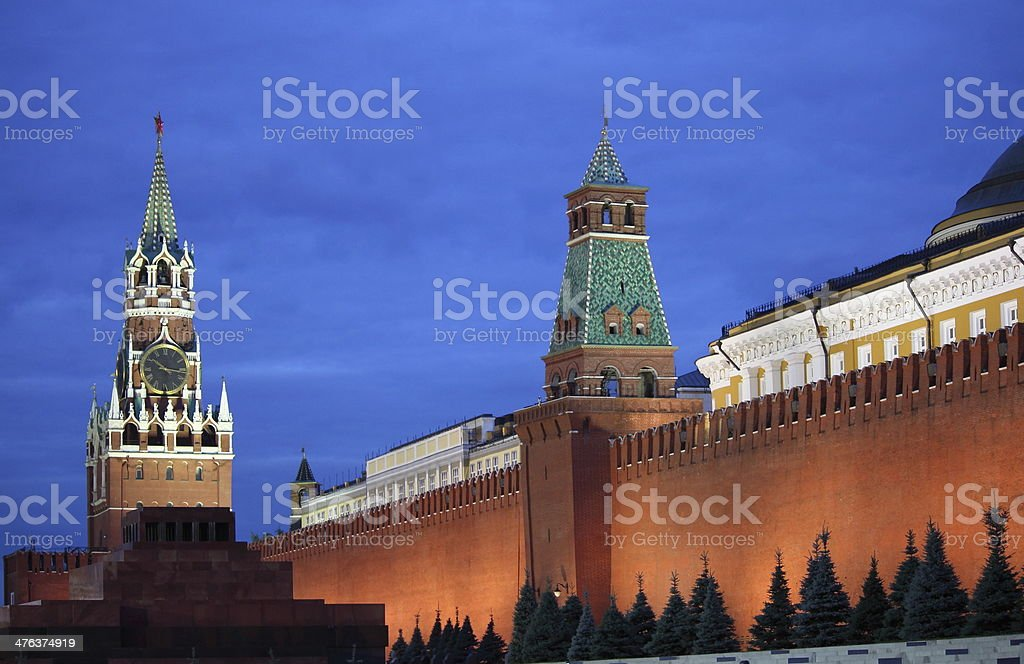Red Square of Moscow by night stock photo