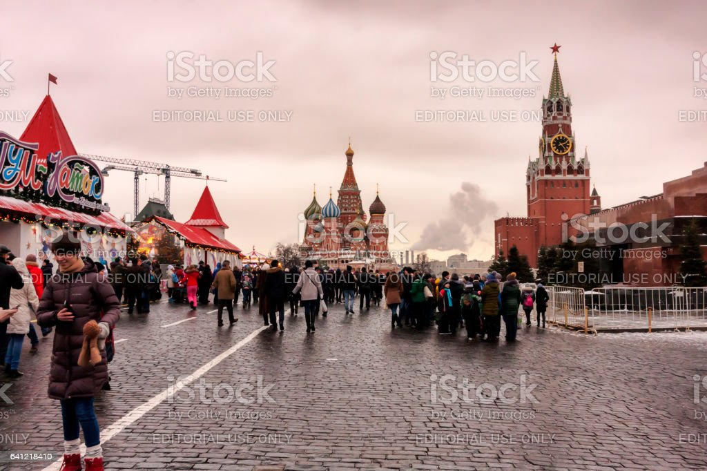 - Red Square, people enjoy walking between beautiful monuments stock photo
