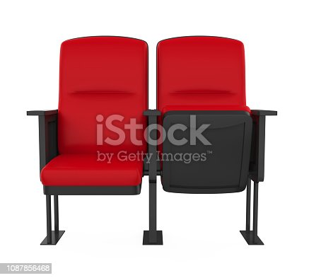 Red Stadium Seats isolated on white background. 3D render