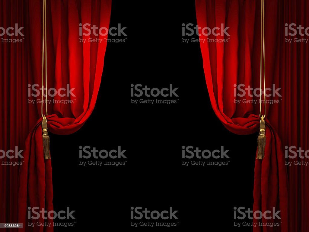 Red stage curtain drawn back with golden ropes stock photo