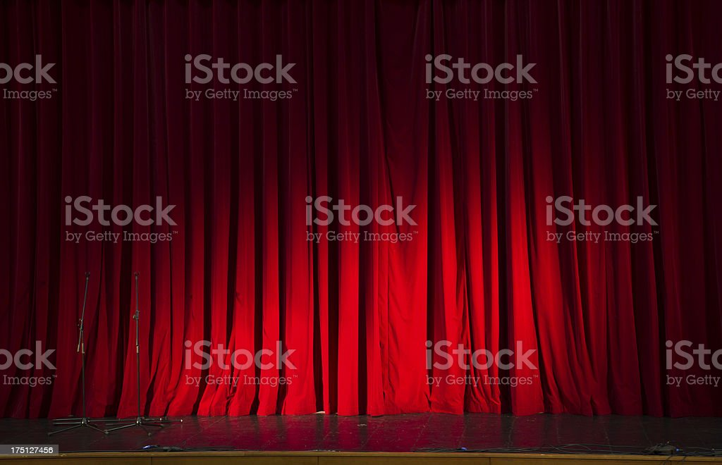 Red stage curtain hide coming show action royalty-free stock photo