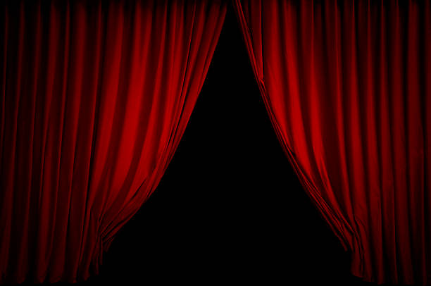 red stage curtain - curtain stock pictures, royalty-free photos & images