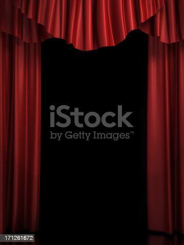 3d rendered red stage curtain.