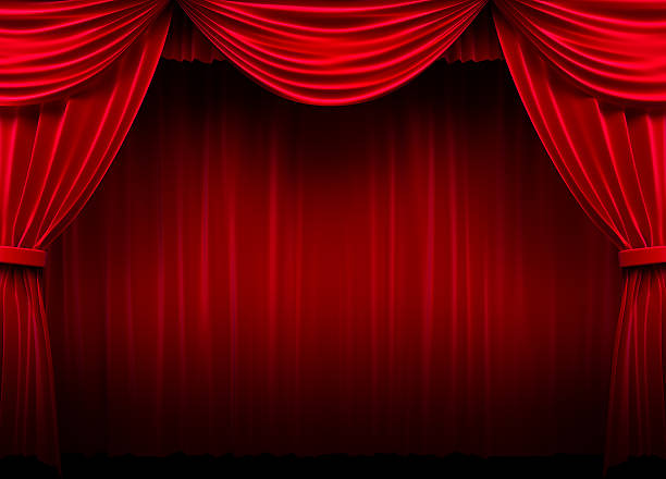 red stage curtain - photography curtains stockfoto's en -beelden