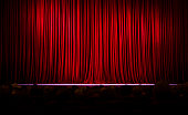 Red stage curtains full frame.