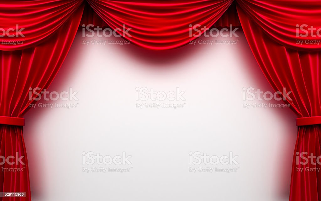 Red stage curtain with blank white background stock photo