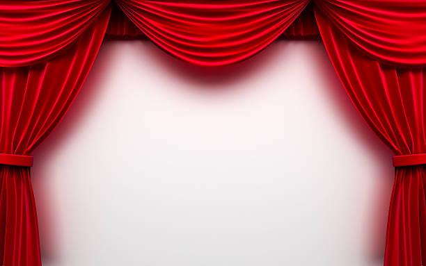 leere bühne mit roten vorhang weißer hintergrund - stage musical stock-fotos und bilder