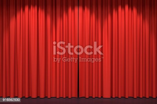 939154550 istock photo Red stage curtains 3D illustration 916562530