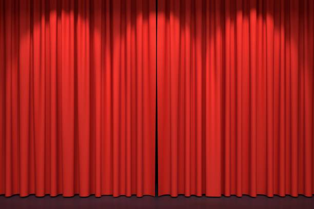 red stage curtains 3d illustration - circus background stock photos and pictures