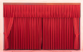 Red Stage Curtains and Empty Seats
