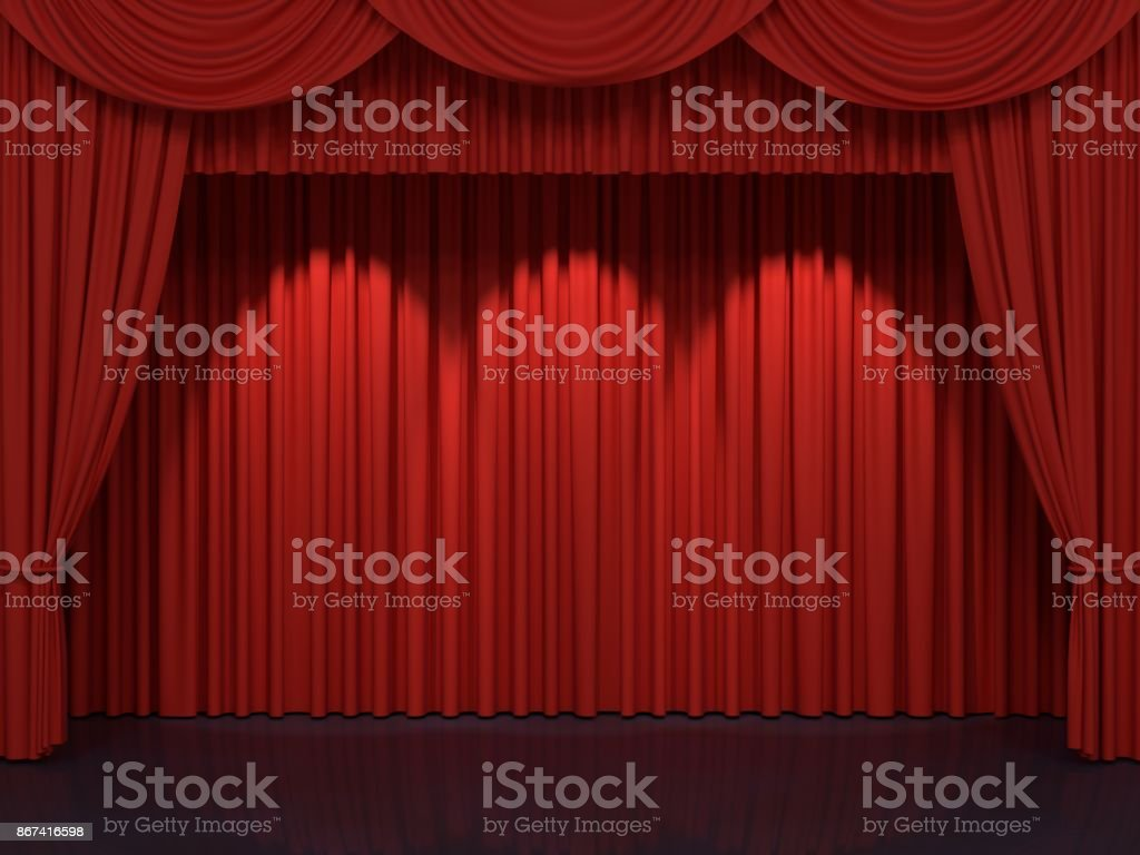 Red stage curtains royalty-free stock photo