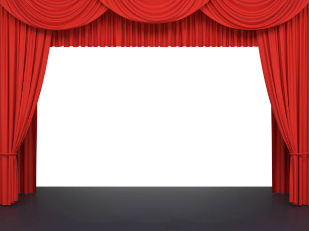 Red stage curtains stock photo