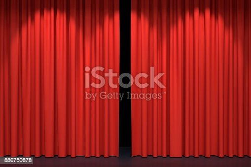 istock Red stage curtains 886750878