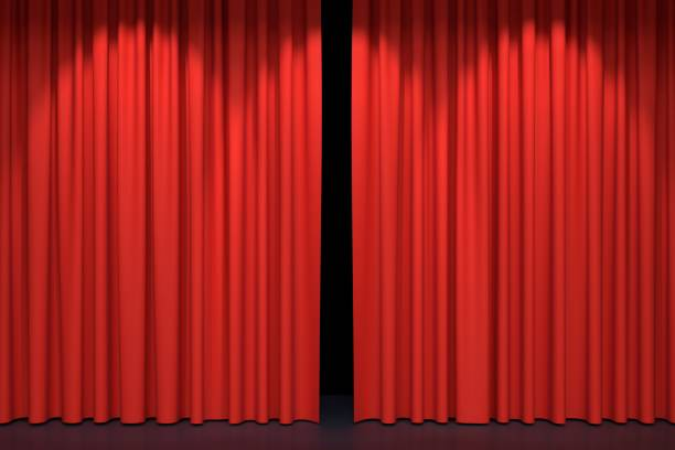 red stage curtains - curtain stock pictures, royalty-free photos & images