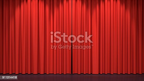 istock Red stage curtains 911314418