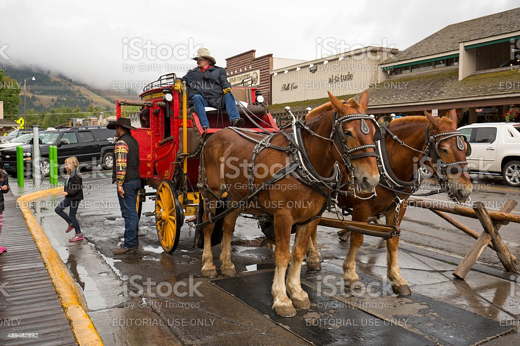 Red stagecoach unloading passengers in downtown Jackson, Wyoming. stock photo