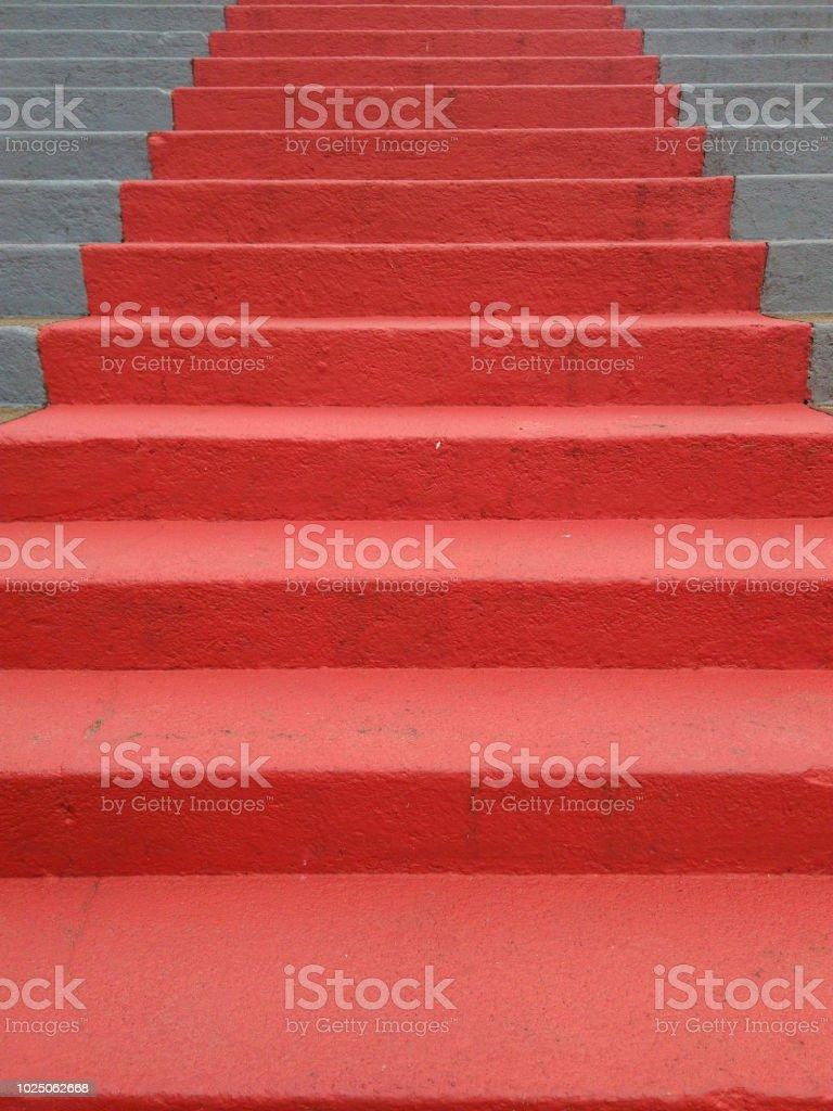 Red Stair - Escada stock photo