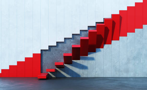 red stairs leading upward stock photo