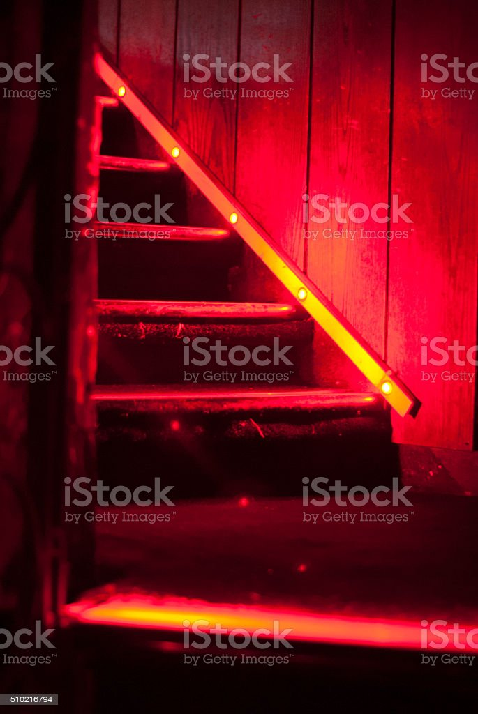 Red stairs stock photo