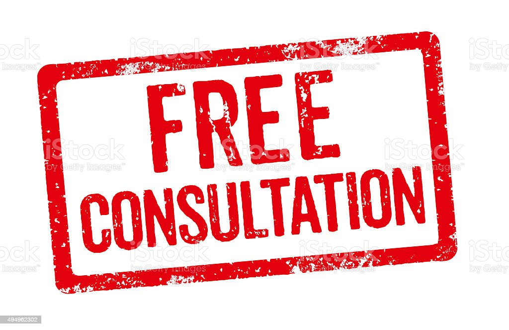 Red Stamp - Free Consultation stock photo