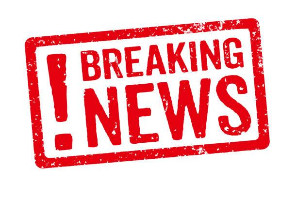 Sello rojo sobre un fondo blanco - noticias - foto de stock