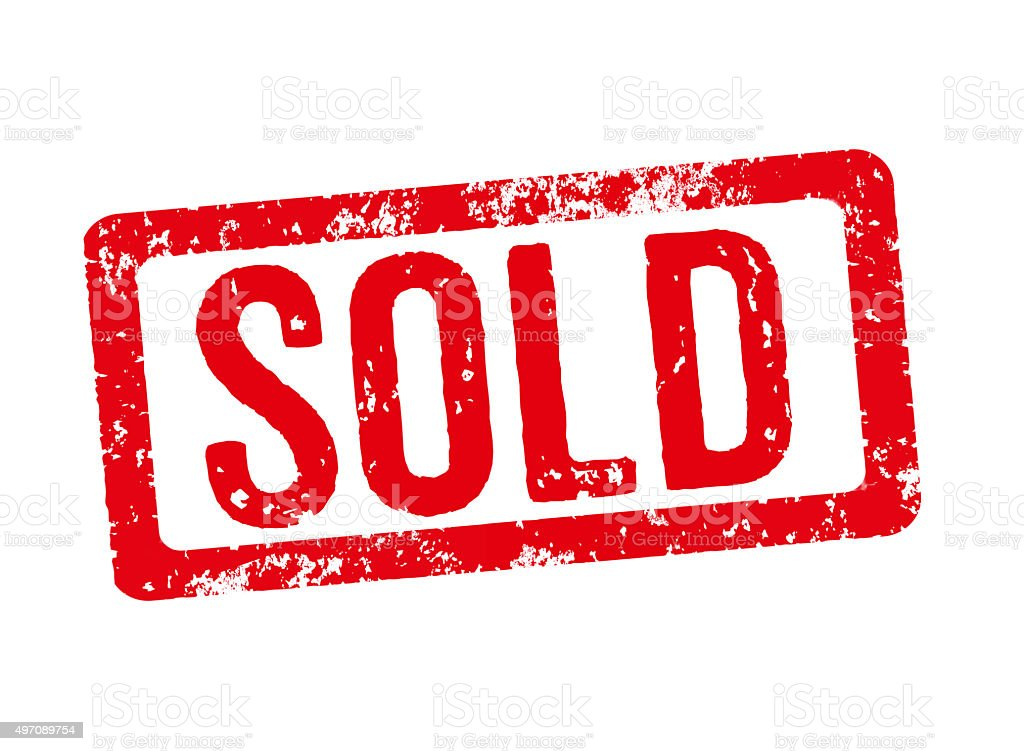 Red stamp on a white background - Sold stock photo
