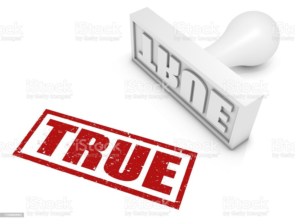 Red stamp that says true in a square on white background royalty-free stock photo