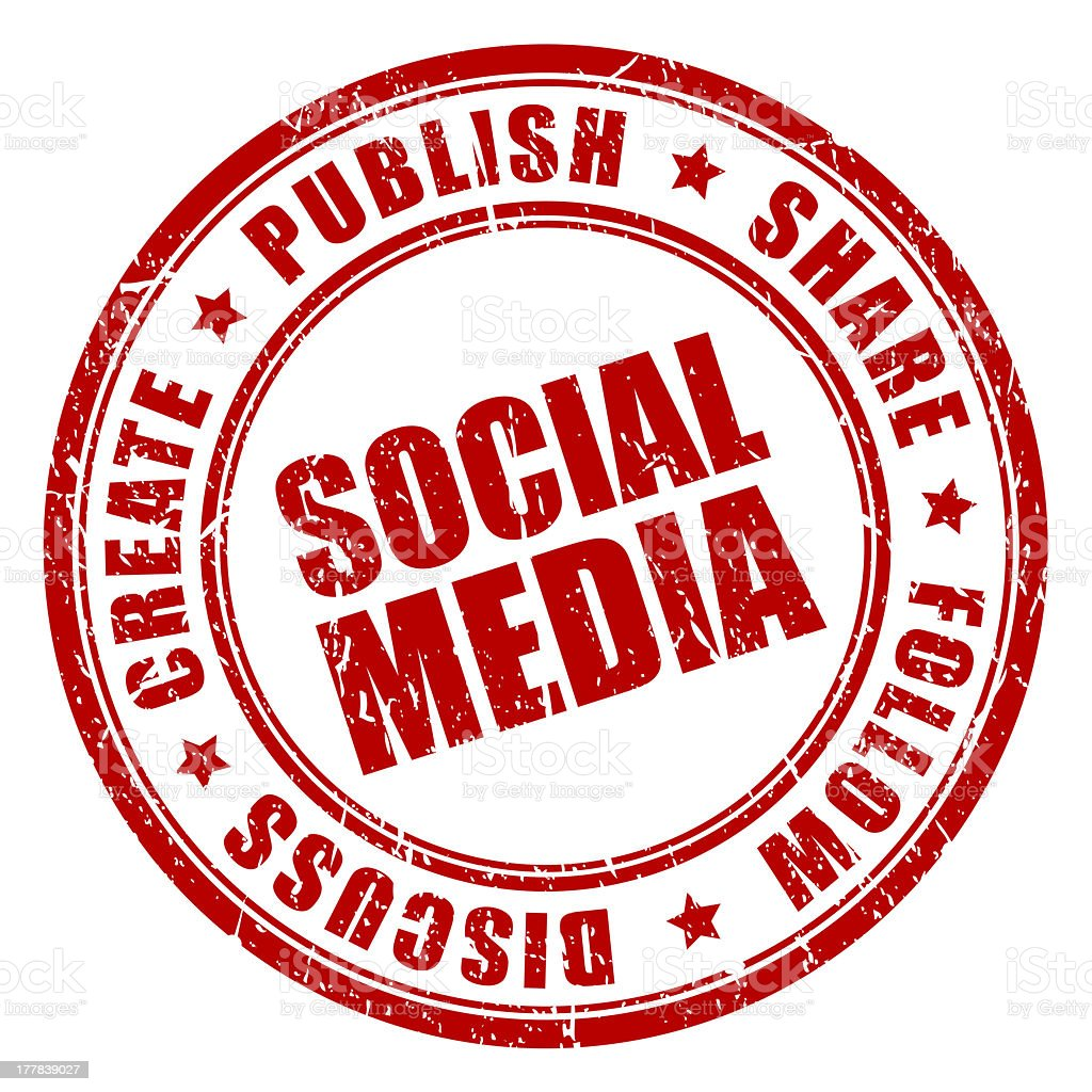Red stamp with social media concept against white background royalty-free stock photo