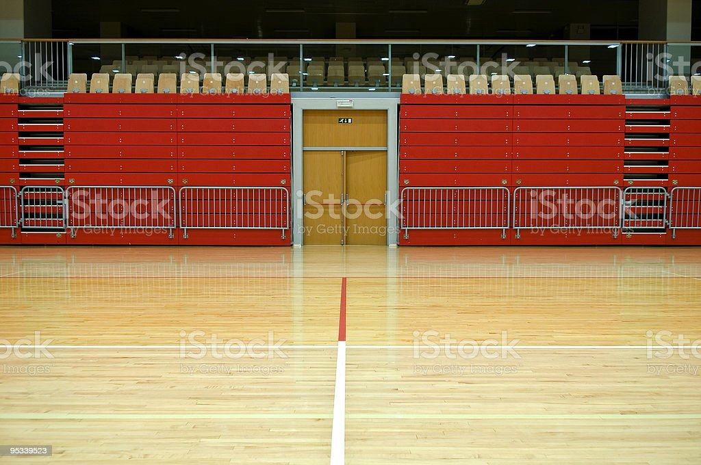 Red Stand in Empty Sports Hall royalty-free stock photo
