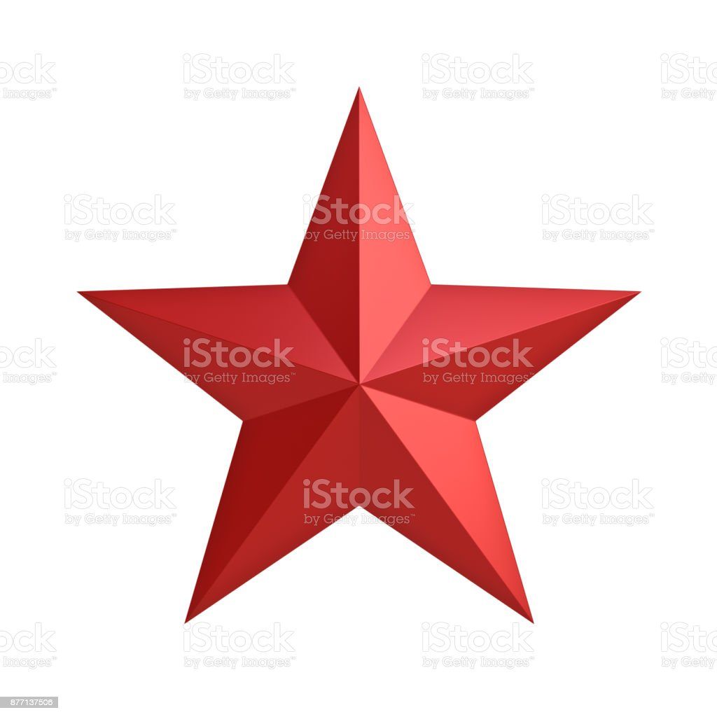 Red star for christmas decoration and other events isolated on white background . 3D render stock photo