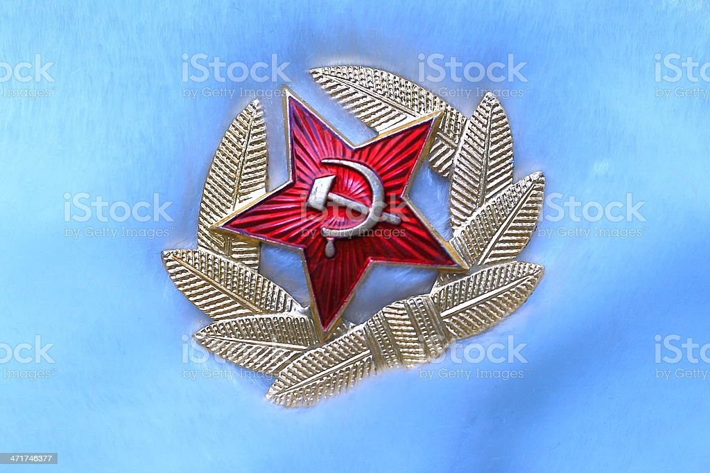 Red Star pin badge hammer and sickle - soviet Moscow stock photo