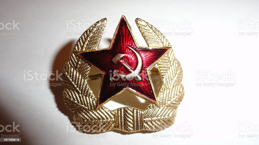 Red Star USSR hammer and sickle. stock photo