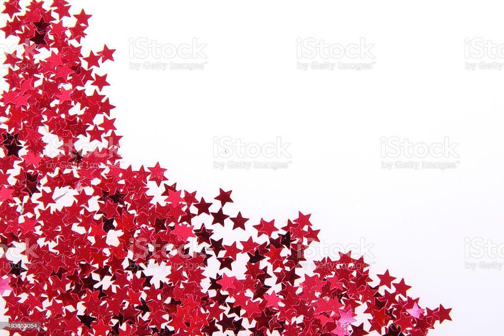 Red stars -confetti stock photo