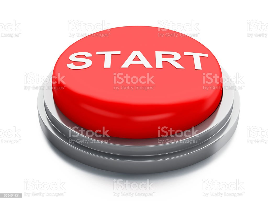 Red start button. 3d illustration stock photo