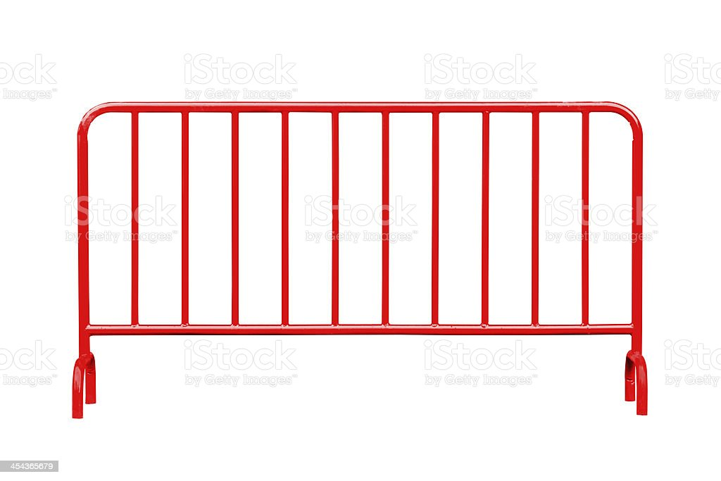 Red steel barrier isolated stock photo
