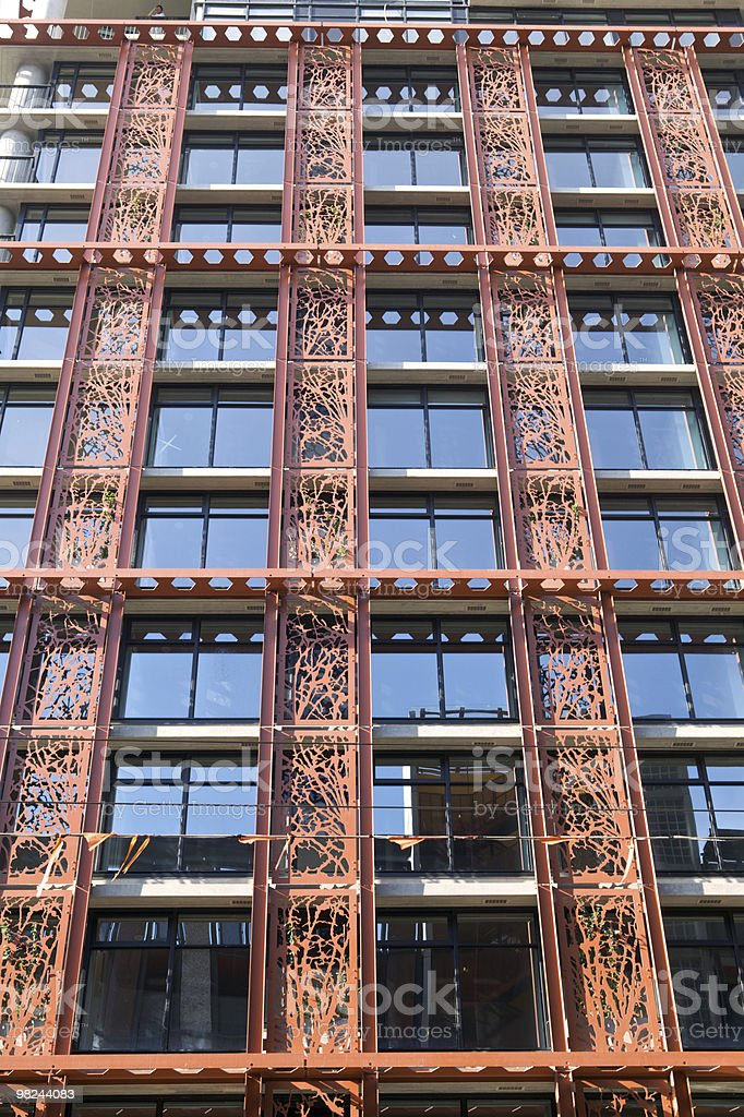 Red Steel Facade of Skyscraper royalty-free stock photo