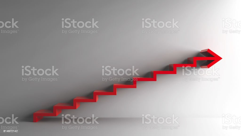 Red steps with arrow stock photo