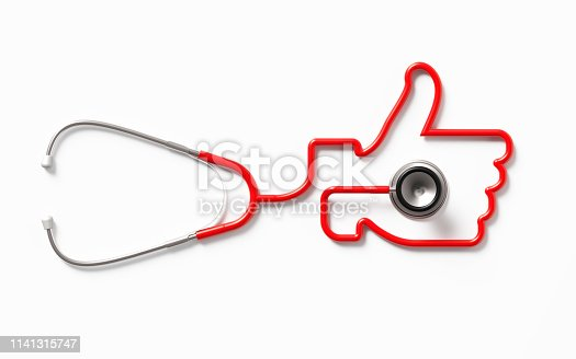 Red stethoscope forming a thumb up symbol on white background. Health concept. Horizontal composition with clipping path and copy space. Directly above.