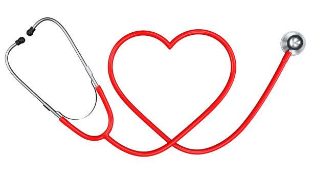 rött stetoskop i form av hjärt symbol. medicin utrustning och medicinsk hälso-och sjukvård design mall. 3d-rendering isolerad på vit bakgrund. - stetoskop bildbanksfoton och bilder