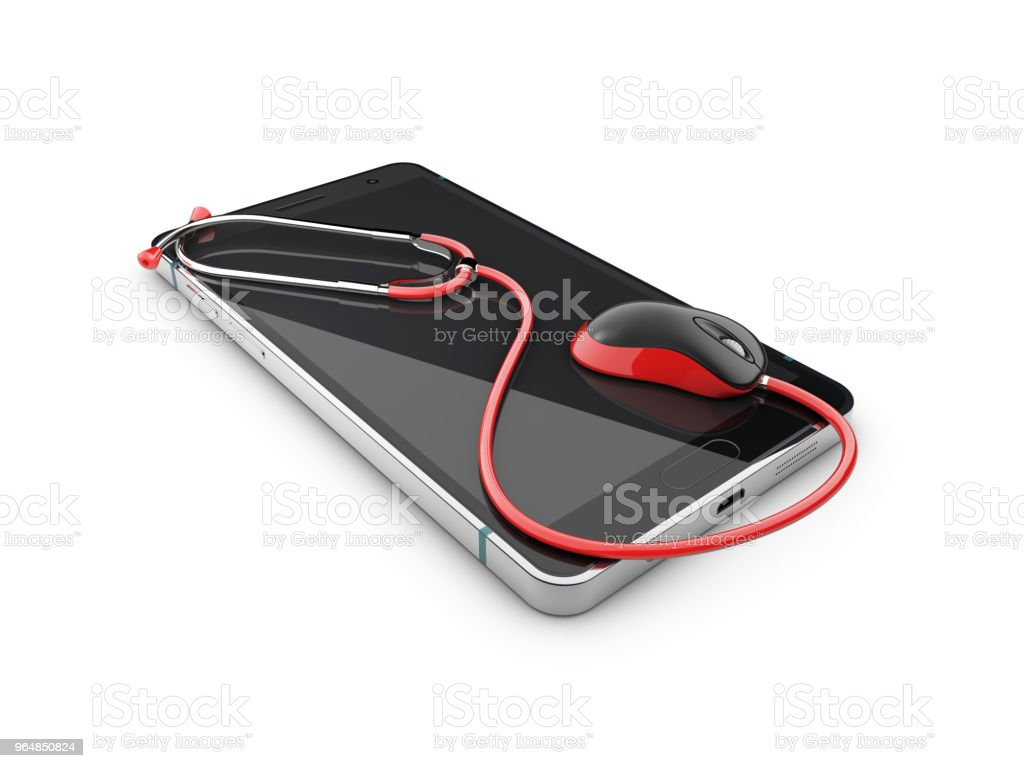 Red stethoscope over smartphone screen, 3d Illustration royalty-free stock photo