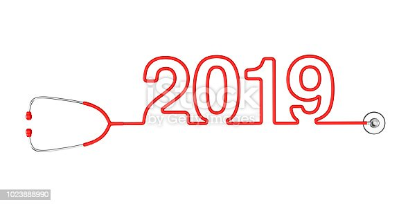 istock Red Stethoscope Tubing Forming New 2019 Year Sign. 3d Rendering 1023888990